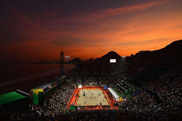 BEACH VOLLEYBALL ARENA #SUNSET #RIO2016 #OLYMPICS #COPACABANA