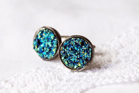 druzy shiny  round light Beautiful unique glitter druzy, groomsmen wedding cufflinks cuff links unisex woman and men Retro vintage style on Etsy, $32.00