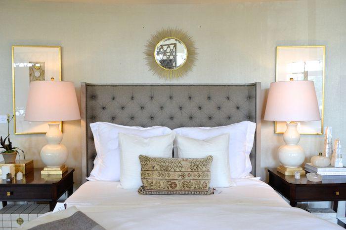 Gray Wingback Headboard with Gold Sunburst Mirror, Traditional, Bedroom