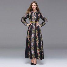 2016 Vintage Платье Европейская Мода Отложное Полный Рукавом пят Пояса Черно-Белой Печати Длинное Платье(China (Mainland))