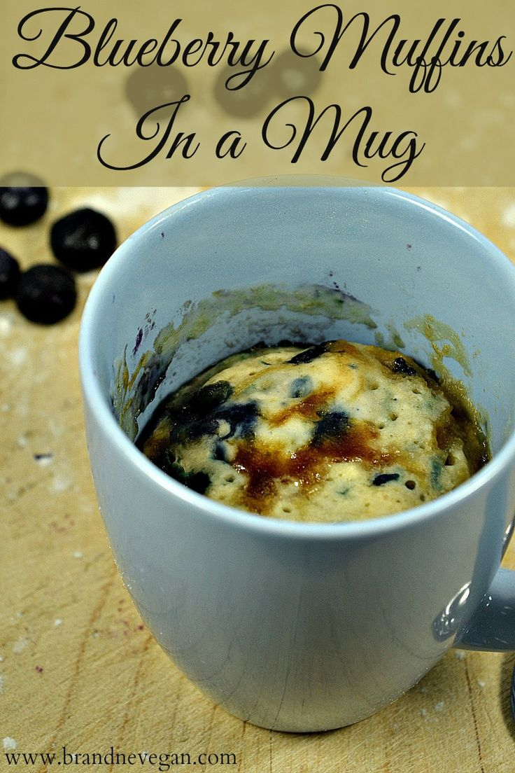 Fast and easy Blueberry Muffins! Stir the ingredients in your favorite mug and microwave for a minute or two - instant breakfast!