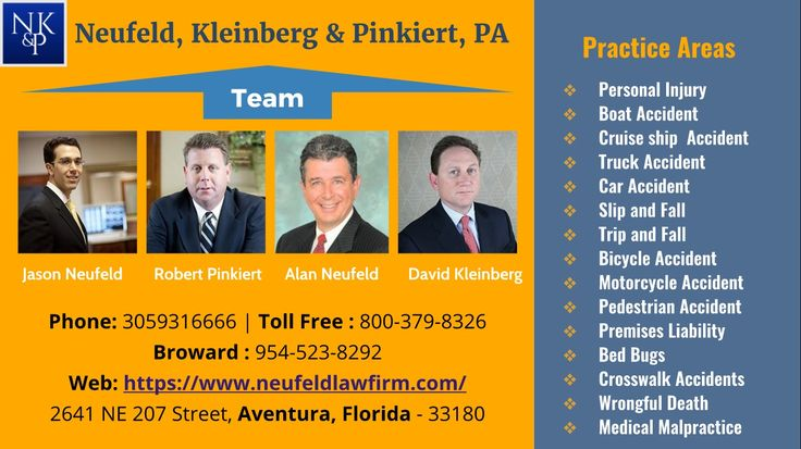 The lawyers in Neufeld, Kleinberg & Pinkiert, PA law firm are consistently ranked among the best Miami #personalinjurylawyers. They have offices in Aventura and Lakeland, FL. They have over 90 combined years of personal injury experience representing the injured in car accidents, motorcycle accidents, bicycle injuries, slip and falls, trip and falls and much more.