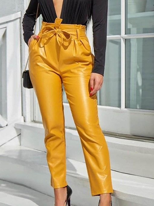 20b5058ad313b Ericdress Lace-Up Plain Slim Full Length High Waist Pants | Fashion Designs  create by House of Peyton in 2019 | Leggings are not pants, Pants, Leather  Pants