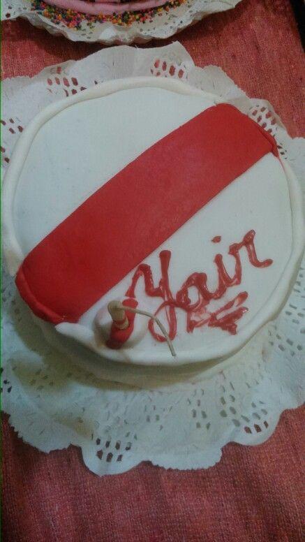 Torta de cumpleaños de river  De chocolate rellena con dulce de leche y mantequilla y mantecol