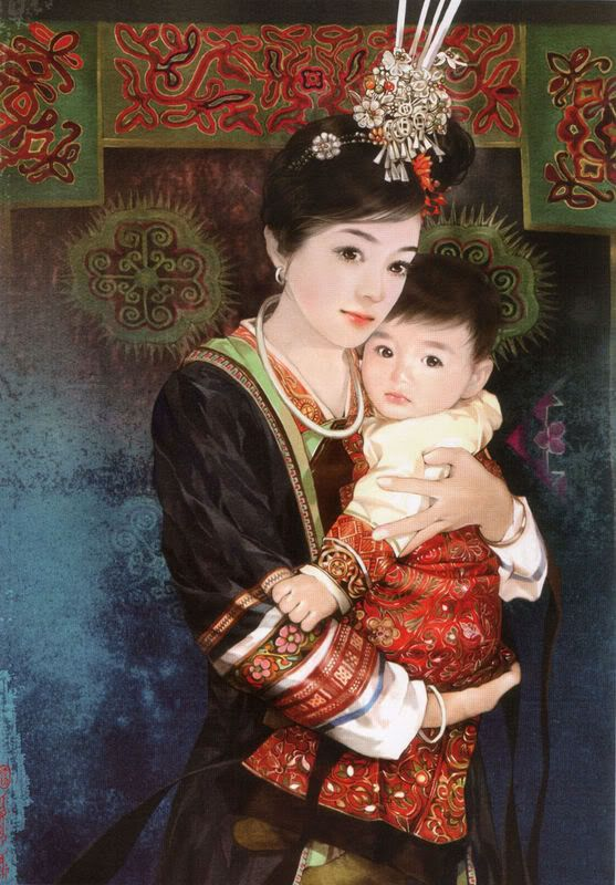 There are 56 ethnic groups in China that have been specifically recognized by the government. In this series, Taiwanese artist Chen Shu Fen (陈淑芬) has painted stunning portraits of women from each one in their traditional dress. This one here is of a Dong woman with her baby.