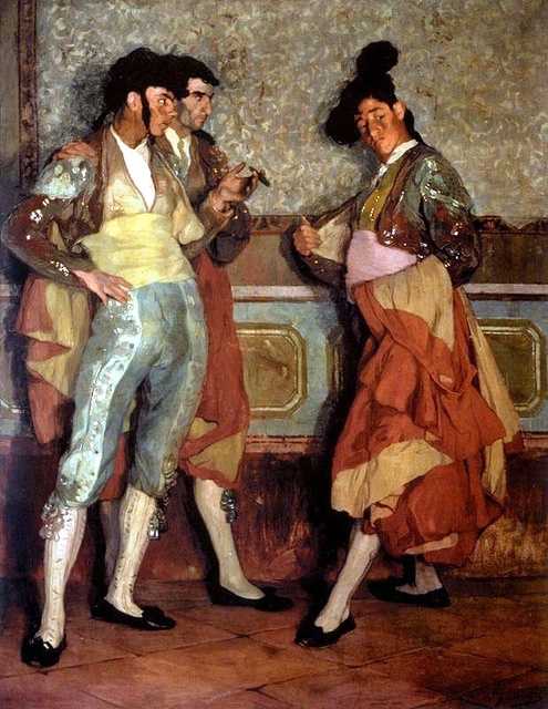 Town Bullfighters, 1906 by Ignacio Zuloaga (1870-1945). Lock up your daughters! The artist has really captured the gaudy glitter of the costumes with all those little flicks of white.