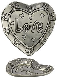 Heart of Love Paw Print Trinket Dish at The Animal Rescue Site