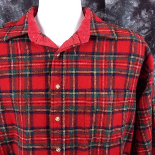 Vtg Pendleton Men Size Large Red Flannel Shirt Royal