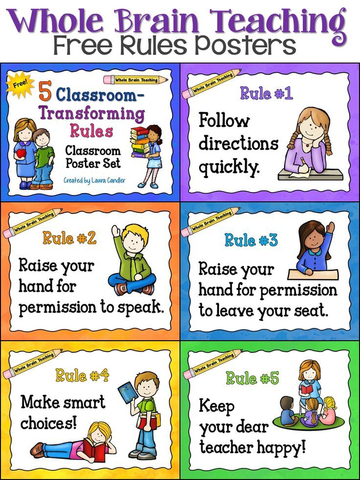 Elementary Classroom Rules ~ Free whole brain teaching classroom rules posters from