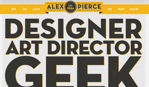 Alex Pierce website typography oversized text