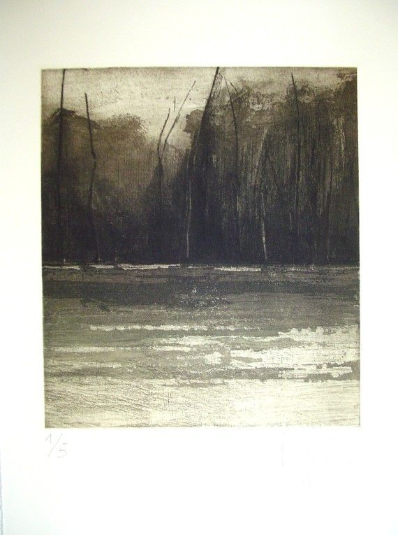 original etching of a landscape,Autumn chills III,hand pulled. $59.00, via Etsy.