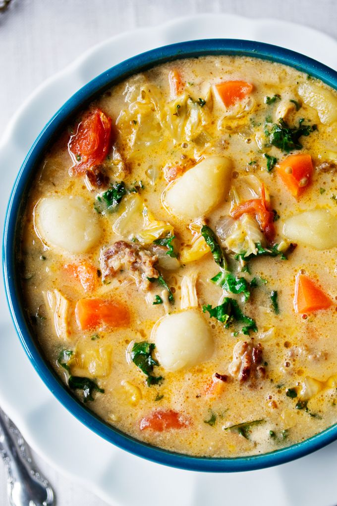 Creamy Sausage,Turkey and Gnocchi!! This fragrant  soup is made with coconut milk,Italian sausage, turkey, oodles of vegetables and gluten free gnocchi. The smell is amazing!!!