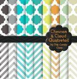 Free Chevron and Cloud Quatrefoil Digital Paper Background