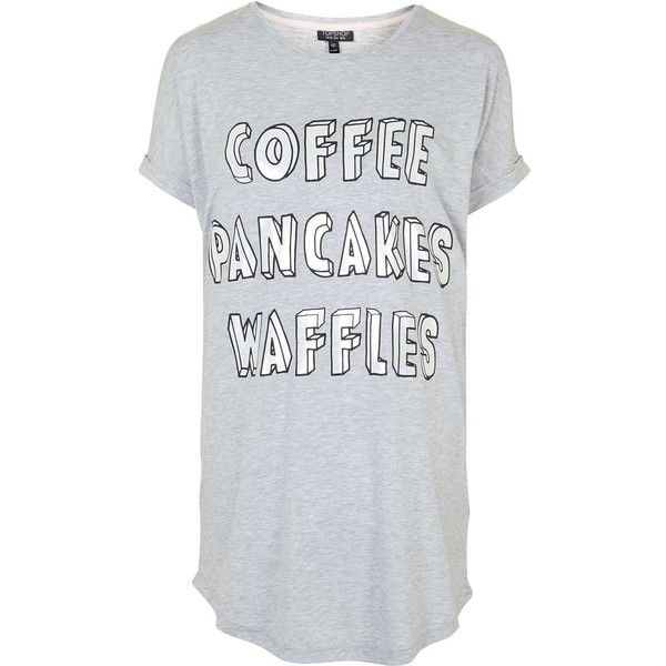 TOPSHOP PETITE Coffee Sleep Tee ($14) ❤ liked on Polyvore featuring intimates, sleepwear, pajamas, tops, shirts, t shirts, grey marl, petite, petite pajamas and topshop