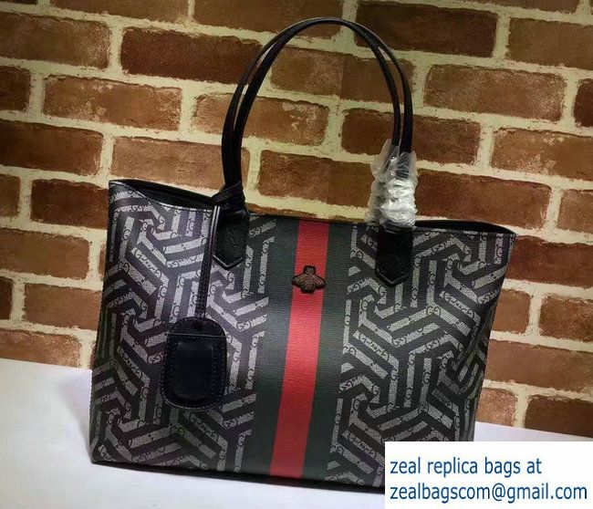 Gucci GG Supreme Web Medium Tote Bag 429002 Caleido Web Bee 2016
