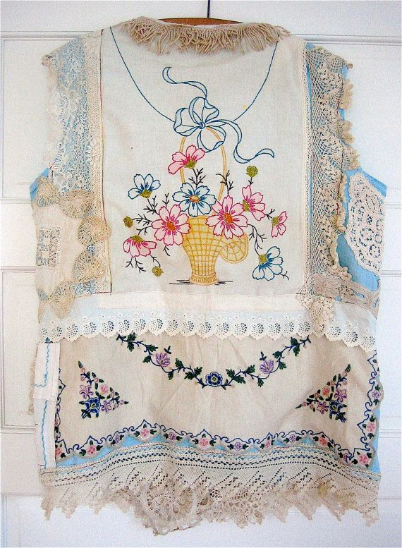 Antique Lace Doilies Embroidery Linens Eclectic ARTISAN Wearable Art COLLAGE my bonny