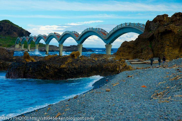 Sansiantai, Dragon Bridge to the Island of the Three Immortals  Dragon Bridge at Sansiantai in Taiwan, the Chinese-Dragon shaped bridge to the Island of the Three Immortals.  #bridge #island #Dragon Bridge #Chinese-Dragon #Sansiantai #Taiwan