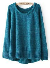 Blue+Long+Sleeve+Dipped+Hem+Pullover+Sweater+US$31.80