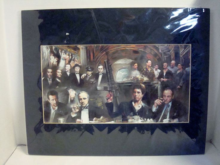 Mobsters Movie Collage Matted Print The Godfather Sopranos Scarface Mafia