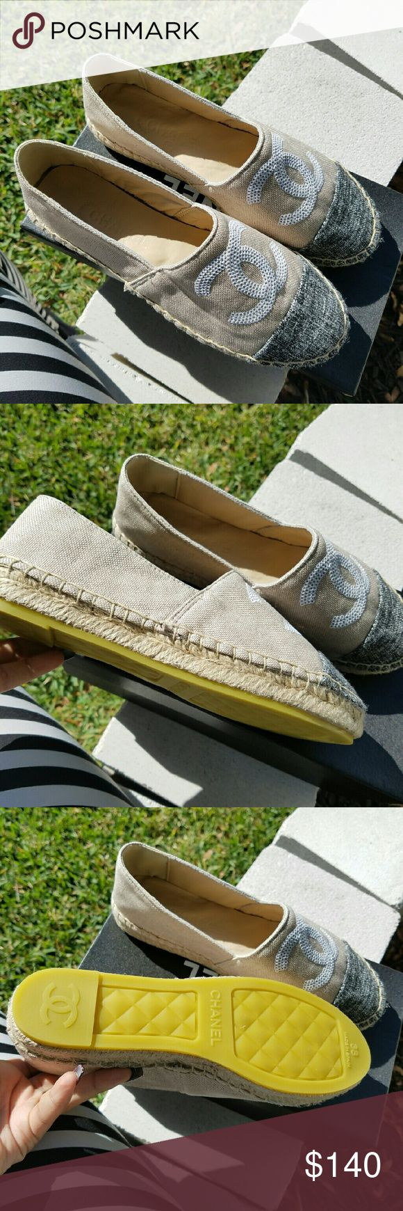 Espadrilles PRICE IS FIRM Brand new in box size 7 i would recommend for people who wear a 7, 7 1/2 they are a perfect fit ! PRICED ACCORDING TO AUTHENTICITY PLEASE CONSIDER PRICING OF NEW CHANEL ESPADRILLES THANKS LADIES CHANEL Shoes
