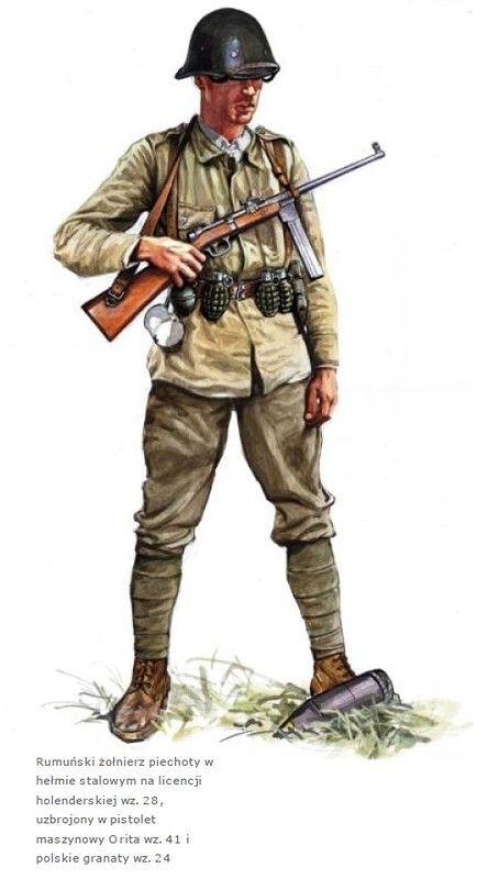 Esercito Romeno - Fante armato di mitra Orita wz. 41, WWII, pin by Paolo Marzioli