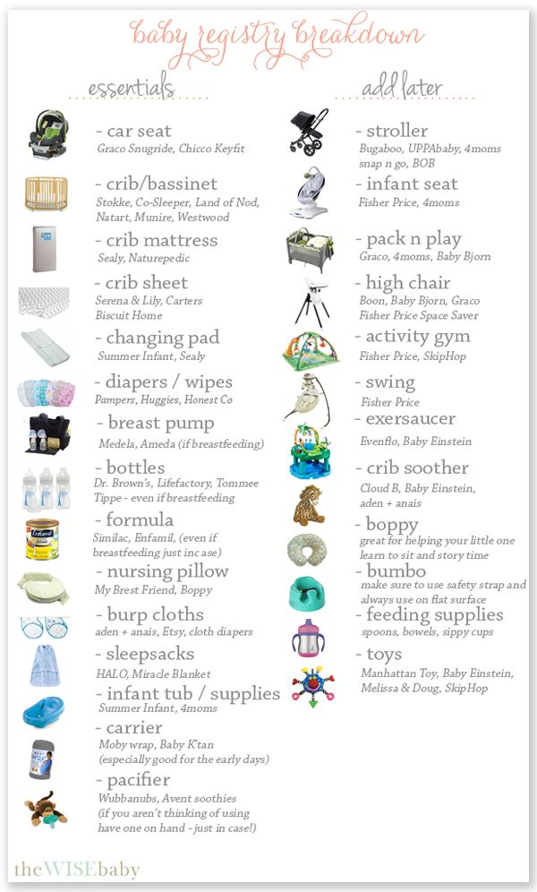 "baby registry breakdown, essential and things to ""add later"" #thewisebaby"