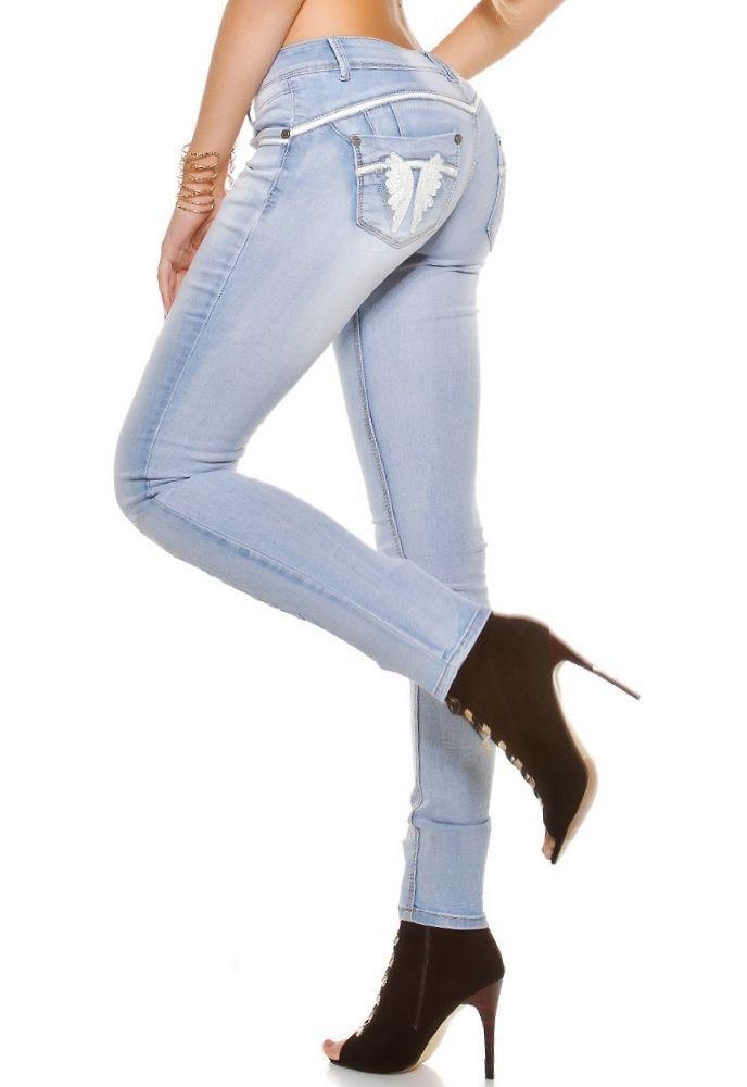 Hellblaue Designer PuSH UP Skinny Jeans mit Engelsflügeln Hose made italy