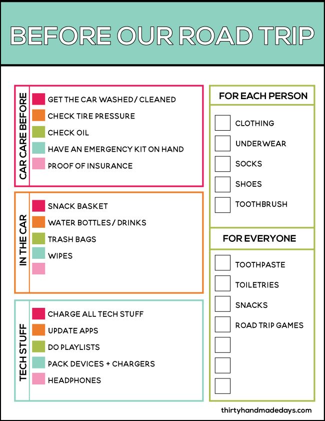 Printable Before Our Road Trip Checklist from www.thirtyhandmadedays.com