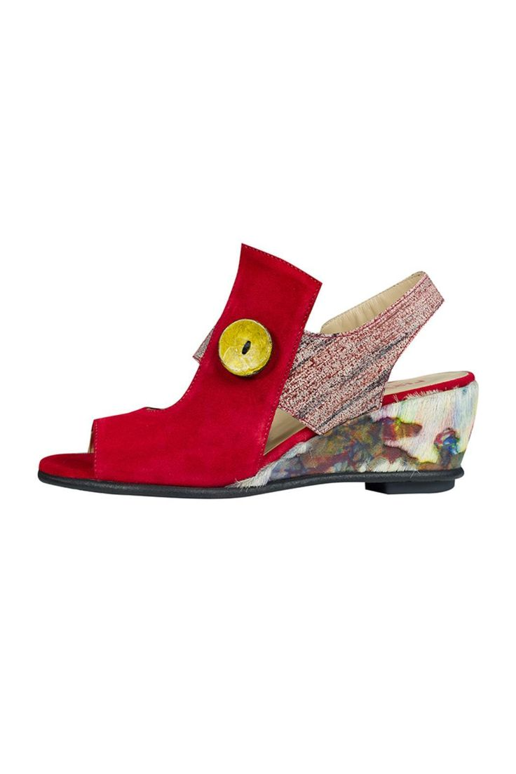 Red sandal shoe with multi coloured wedge heel pull on elasticated sling back with open toe and yellow decorative button. Very comfortable made from soft leather. 2 inch heel  Ortelle Wedge by Lisa Tucci. Shoes - Wedges East of England England United Kingdom