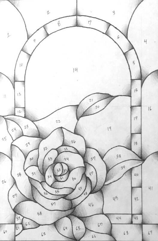 Rose Stained Glass Pattern 6.5 x 9.5 2 prints