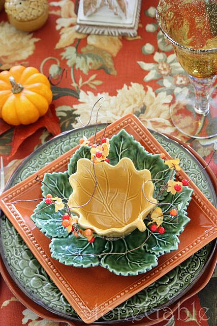 Layers, shapes, colors and textures.  This is a gorgeous Fall table setting