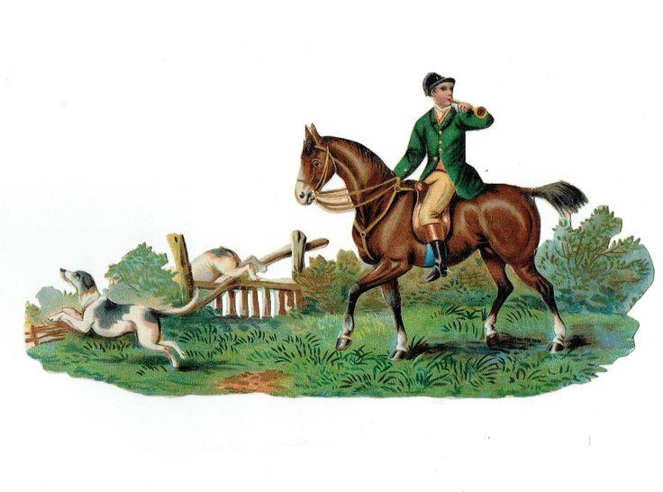Un chromo - Découpis  - Cheval - Chasse à courre avec chiens -- sans défaut fr.picclick.com