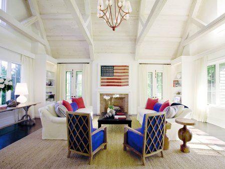 SLEEK Red White And Blue Living Room Patriotic Decor Pinterest