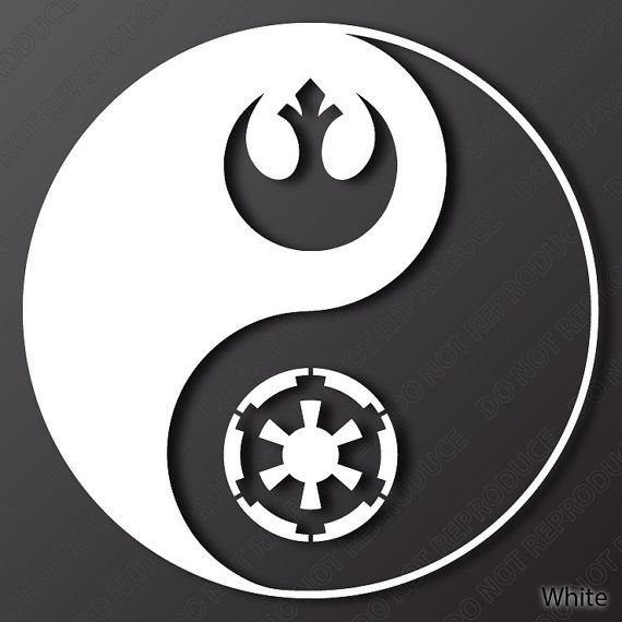 Star Wars Yin Yang One Color Vinyl Decal White by S4SarahsSigns, $4.27