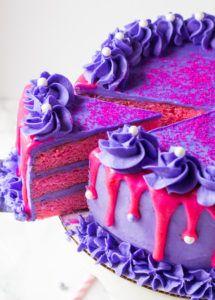 Pink Velvet Cake with Purple Vanilla Buttercream