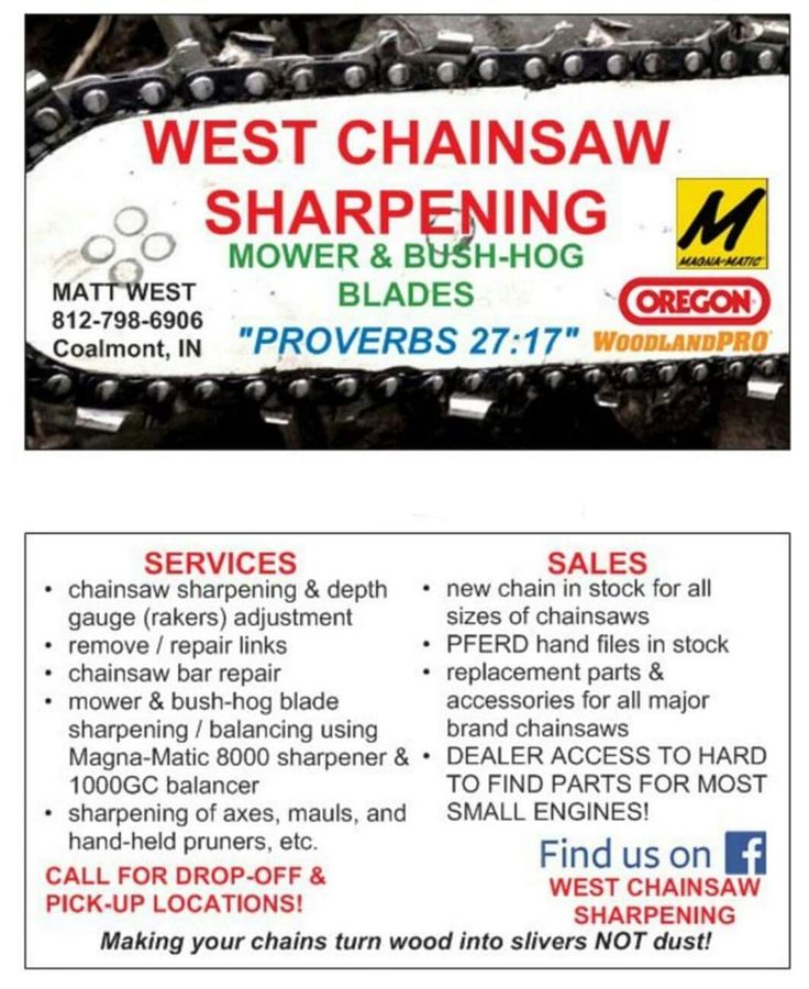 WEST CHAINSAW SHARPENING -- PROFESSIONAL CHAINSAW & BLADE SHARPENING SERVICE #ANY