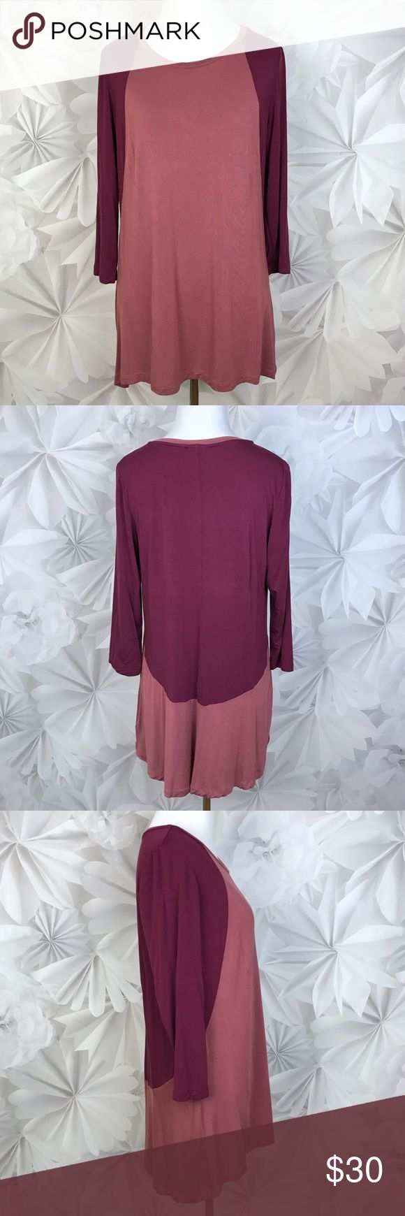 "[LOGO] Lori Goldstein Color Block 3/4 Sleeve Top M Super soft color blocked 3/4 sleeve top. Sporty and Chic. Perfect with skinny jeans or leggings. A great color combo for Fall.   🔹Fabric: 95% Rayon 5% Spandex  🔹Bust: 19"" 🔹Length: 27"" - 30"" 🔹Condition: Excellent pre-owned condition. No flaws.  Measurements taken while lying flat. LOGO by Lori Goldstein Tops Blouses"