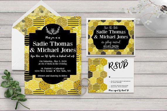 Honeycomb Wedding Invitation Bee Wedding Honey Bee Wedding Etsy Honey Wedding Bee Wedding Fine Wedding Invitations