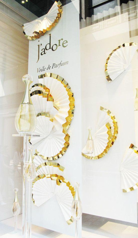 Dior j, adore, Voile de Parfum Window Display at Galeries LaFayette