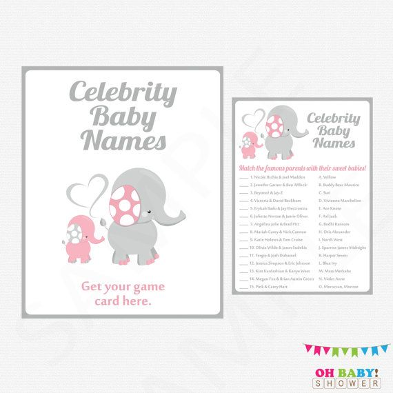 Elephant Baby Shower Games Celebrity Name Game by OhBabyShower