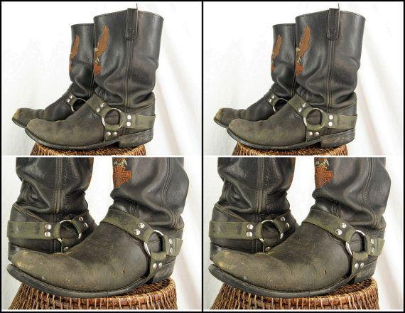 sz 11 harley davidson harness vintage black leather motorcycle boots men harley davidson. Black Bedroom Furniture Sets. Home Design Ideas