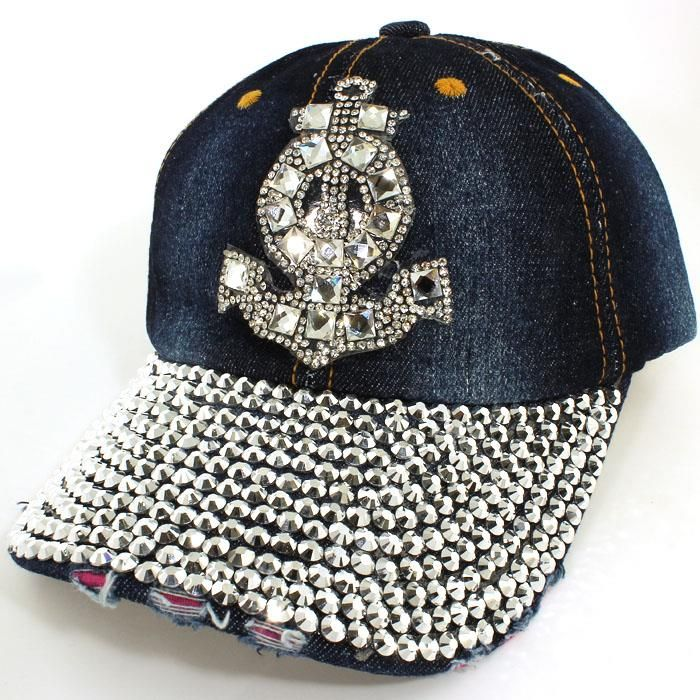 A Gorgeous Stud Embellished Baseball Cap.  Perfect for Summer!  Distressed.