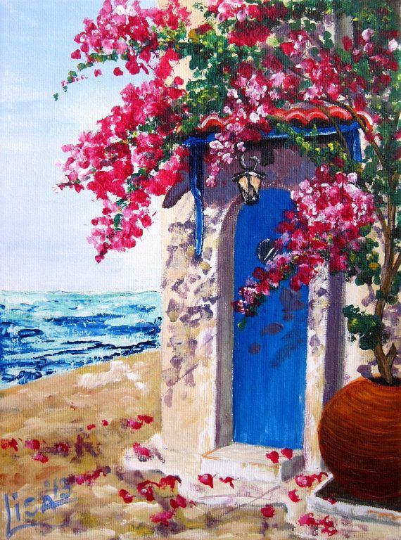 Original Acrylic Painting Miniature Spring by ArtonlineGallery