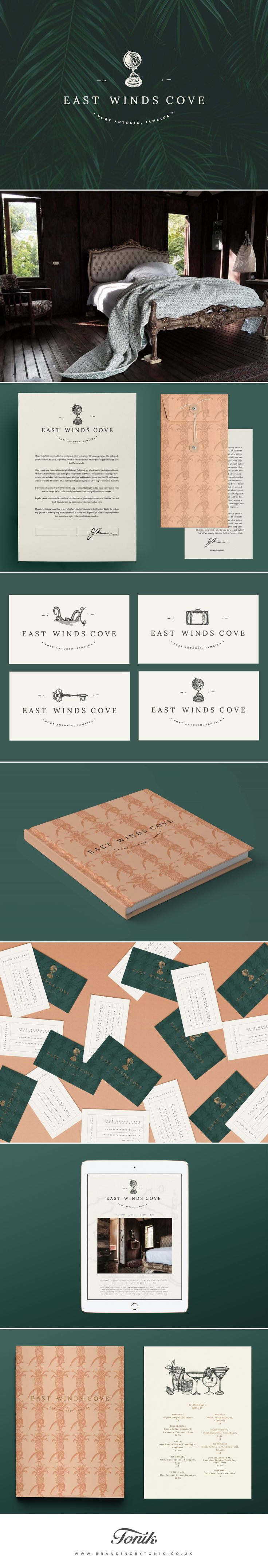 New branding identity for East Winds Cove by Branding by Tonik. The design is reminiscent of nostalgic times and features etched-style illustrations inspired by colonial imagery and the golden age of travel.