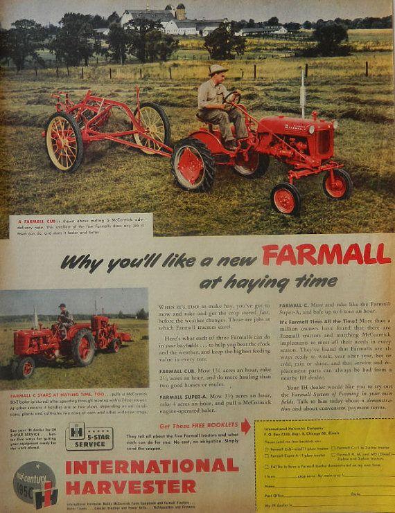 Vintage international harvester farmall truck ad 1950s for International harvester wall decor