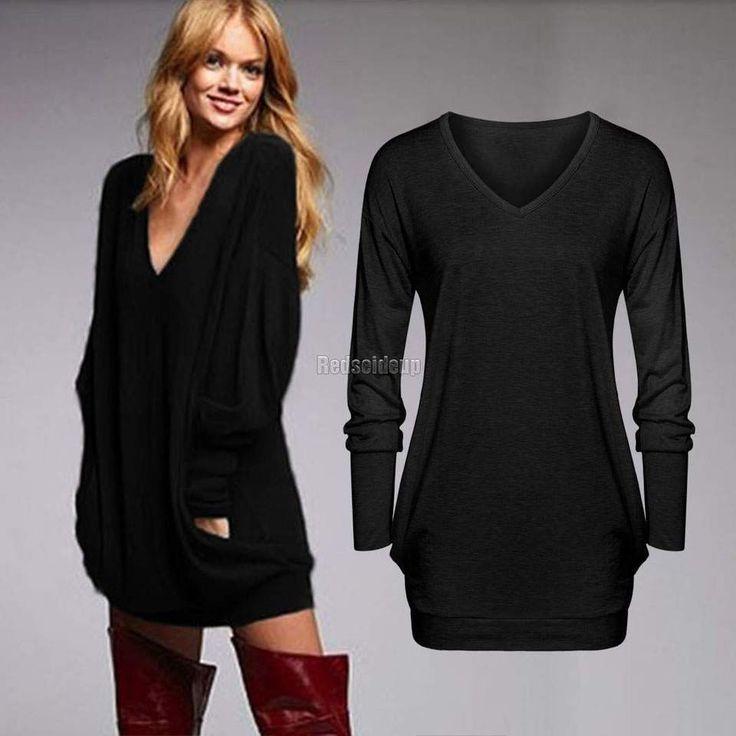 Женщины V Шея Свободные топы пуловер Секс длинным рукавом Блузка мини-платье