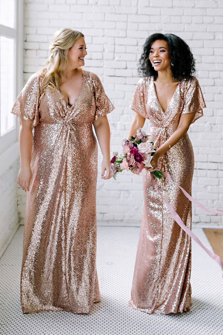 Home Try-On Gwen Sequin Dress in 2021 | Rose gold bridesmaid dress, Sequin bridesmaid dresses, Gold bridesmaid dresses