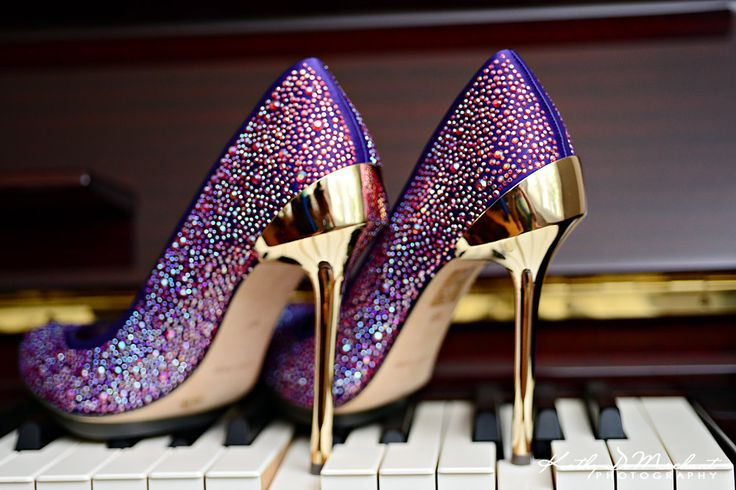 #sparkly #purple #shoes with #gold heels = hotness