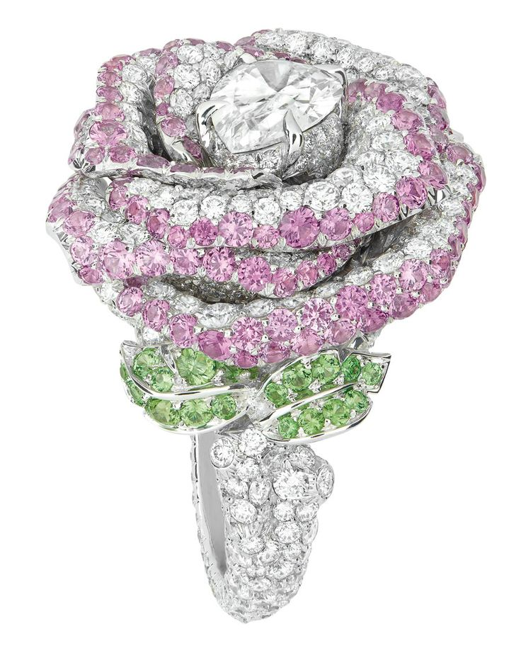 Dior ROSE DIOR BAGATELLE RING: White gold, diamonds, pink sapphires and tsavorite garnets.