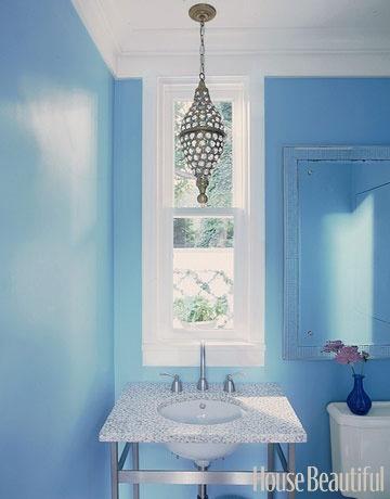 Deep Color: House Beautiful, Small Bathroom, Decorating Bathrooms, Color, Decorating Ideas, Bathroom Ideas, Light Fixture, Powder Rooms, Blue Bathroom